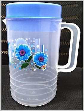FPR  Heavy Duty Purified Plastic Flora Printed Water Jug with Lid for Kitchen, Office, Home etc (2 Letter - Assorted Colour)