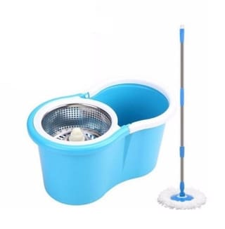 FPR Microfiber Steel Spin Mop with Easy Wheels and Bucket for Magic 360 Degree Cleaning with 2 Refills