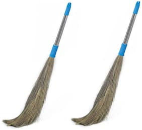 FPR Pack of 2 Shagun Stainless Steel Stella Eco Friendly Soft Grass Floor Broom Stick