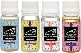 Fragair Concentrated/Undiluted Aroma Oil for Air Revitalizer Pack of 4 (35ml of Tropical Paradise;Lavender;Dove & Rose )