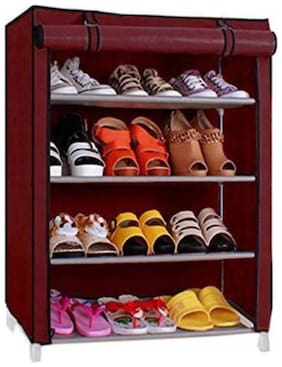 FRAZZER Multipurpose Metal Collapsible Shoe Stand (Maroon)