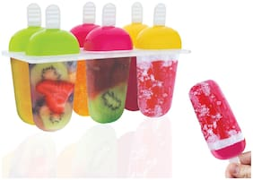 Frekich Kulfi Maker Mould, Candy Mould, Popsicle Moulds, Ice Candy Maker, Plastic Frozen Ice Cream Mould Tray of 6 Candy with Reusable Stick