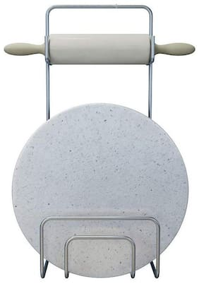Frekich Stainless Steel Rolling Board & Pin Holder Chakla Patla Belan Stand