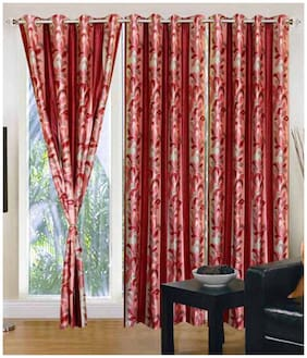 Fresh From Loom Red Polyester Long Door Curtain-Set Of 2