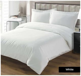 Fresh From Loom Cotton Solid Double Size Bedsheet ( 1 Bedsheet With 2 Pillow Covers , White )