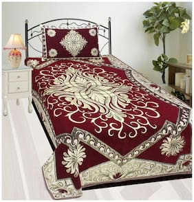 Fresh From Loom Velvet Printed Single Size Bedsheet ( 1 Bedsheet With 1 Pillow Covers , Maroon )