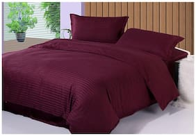 Fresh From Loom Satin Striped King Size Bedsheet ( 1 Bedsheet With 2 Pillow Covers , Purple )