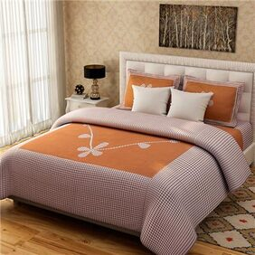 Fresh From Loom Cotton Double Bed Sheet with 2 Pillow Covers