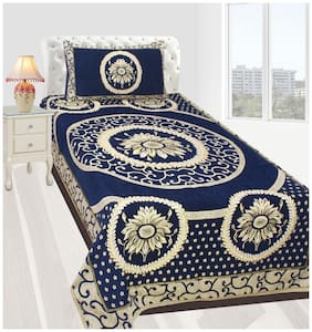Fresh From Loom Velvet Abstract Single Size Bedsheet ( 1 Bedsheet With 1 Pillow Covers , Blue )