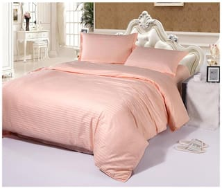 Fresh From Loom Plain Strip King Size Cotton Bedsheet With 2 Pillow Cover