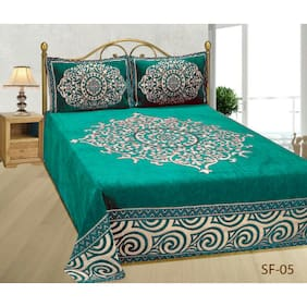 Fresh From Loom Chenille Abstract Double Size Bedsheet ( 1 Bedsheet With 2 Pillow Covers , Blue )