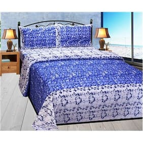 Fresh From Loom Cotton Floral Double Size Bedsheet ( 1 Bedsheet With 2 Pillow Covers , Blue )
