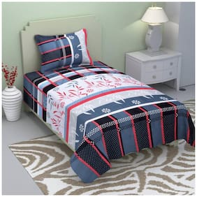 Fresh From Loom Cotton Checkered Single Size Bedsheet ( 1 Bedsheet With 1 Pillow Covers , Grey )