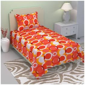 Fresh From Loom Cotton Geometric Single Size Bedsheet ( 1 Bedsheet With 1 Pillow Covers , Red )