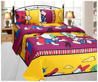 Fresh From Loom Cotton Kids King Size Bedsheet ( 1 Bedsheet With 2 Pillow Covers , Yellow )