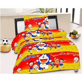 Fresh From Loom Cotton Kids Single Size Bedsheet ( 1 Bedsheet With 1 Pillow Covers , Multi )