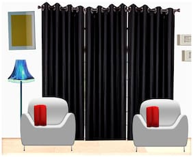 Fresh From Loom Black Plain Polyester Door Curtain -Set Of 3