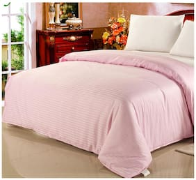 Fresh From Loom Satin Striped King Size Bedsheet ( 1 Bedsheet With 2 Pillow Covers , Pink )