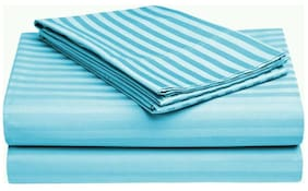 Fresh From Loom Plain Strip Single Cotton Bedsheet With 1 Pillow Cover