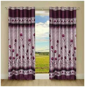 Fresh From Loom Purple And Grey Polyster Door Curtains Set Of Two