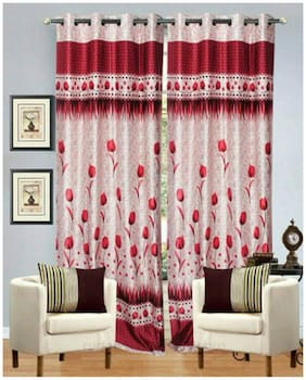 Fresh From Loom Red And White Polyster Door Curtains Set Of Two
