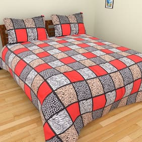 Fresh From Loom Cotton Checkered Double Size Bedsheet ( 1 Bedsheet With 2 Pillow Covers , Multi )