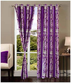 Fresh From Loom Purple Polyester Long Door Curtain-Set Of 2