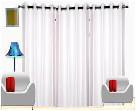 Fresh From Loom White Plain Polyester Door Curtain -Set Of 3