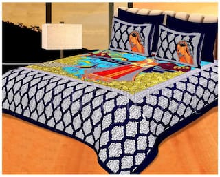 Fresh From Loom Cotton Rajasthani Jaipuri Print Double Size Bedsheet ( 1 Bedsheet With 2 Pillow Covers , Blue )