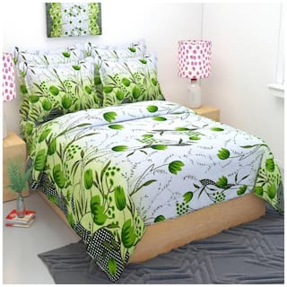 Fresh From Loom Cotton Floral Double Size Bedsheet ( 1 Bedsheet With 2 Pillow Covers , Maroon )