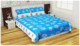 Fresh From Loom Cotton Floral Double Size Bedsheet 160 TC ( 1 Bedsheet With 2 Pillow Covers , Blue )