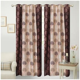 Fresh From Loom Brown Polyester Door Curtain - Set of 2