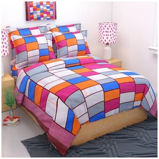 Fresh From Loom Cotton Checkered Double Size Bedsheet ( 1 Bedsheet With 2 Pillow Covers , Blue )