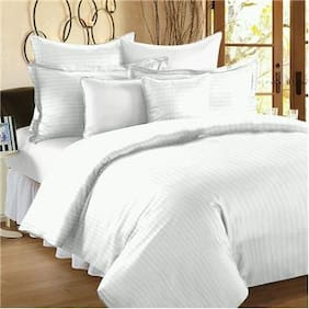 Fresh From Loom Satin Striped King Size Bedsheet ( 1 Bedsheet With 2 Pillow Covers , White )