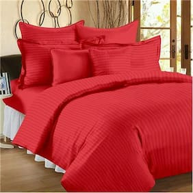 Fresh From Loom Satin Striped Single Size Bedsheet ( 1 Bedsheet With 1 Pillow Covers , Red )