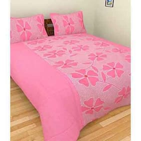 Fresh From Loom Cotton Floral Double Size Bedsheet ( 1 Bedsheet With 2 Pillow Covers , Pink )