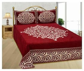 Fresh From Loom Chenille Abstract Double Size Bedsheet ( 1 Bedsheet With 2 Pillow Covers , Maroon )