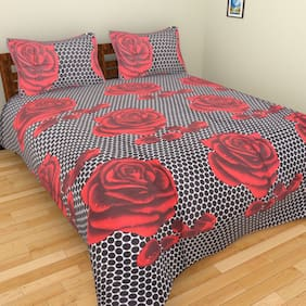 Fresh From Loom Cotton Floral Double Size Bedsheet ( 1 Bedsheet With 2 Pillow Covers , Multi )