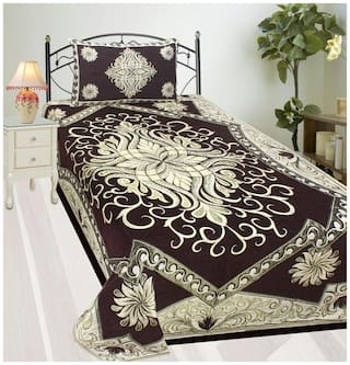 Fresh From Loom Velvet Printed Single Size Bedsheet ( 1 Bedsheet With 1 Pillow Covers , Brown )