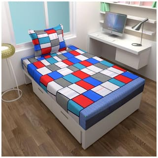 Fresh From Loom Cotton Checkered Single Size Bedsheet ( 1 Bedsheet With 1 Pillow Covers , Blue )