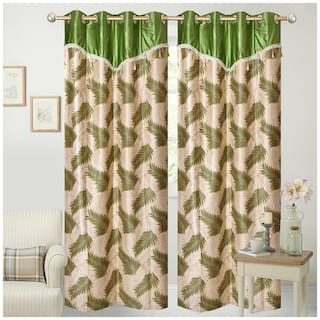 Fresh From Loom Beige And Green Polyester Long Door Curtain-Set Of 2