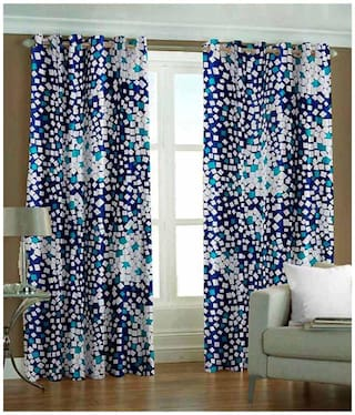 Fresh From Loom Blue Polyester Long Door Curtain-Set Of 2