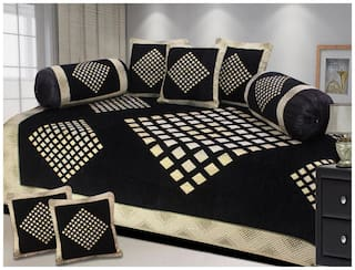 Fresh From Loom Velvet Embroidered Single Size Diwan Sets - Pack of 1