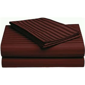 Fresh From Loom Satin Striped King Size Bedsheet ( 1 Bedsheet With 2 Pillow Covers , Brown )