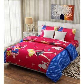 Fresh From Loom Cotton Kids Double Size Bedsheet ( 1 Bedsheet With 2 Pillow Covers , Multi )