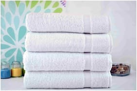 Fresh From Loom 450 GSM Cotton Hand towel ( 4 pieces , White )