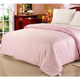 Fresh From Loom Plain Strip Queen Size Cotton Bedsheet With 2 Pillow Cover
