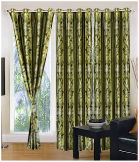 Fresh From Loom Green Polyester Long Door Curtain-Set Of 2