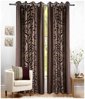 Fresh From Loom Brown And Black Polyster Door Curtains Set Of Two