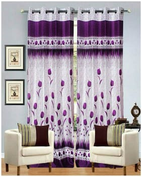 Fresh From Loom Purple And White Polyster Door Curtains Set Of Two